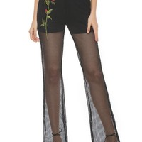 Black Rose Embroidery Fishnet Flare High Waisted Fashion Pants
