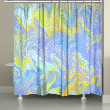 Bright Lavender Yellow Shower Curtain