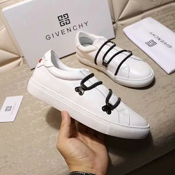 Givenchy autumn and winter new men's cross-lace decorative casual shoes white
