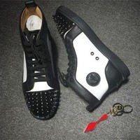 DCCK Cl Christian Louboutin Lou Spikes Style #2204 Sneakers Fashion Shoes