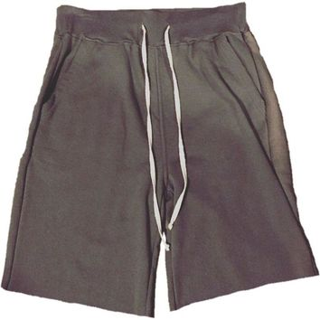 God Grey French Terry Sweat Shorts w/ Extended Drawstring