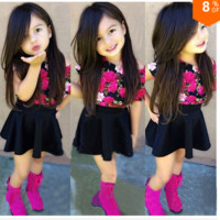 Girls 2 PC Floral Top and Black Skirt