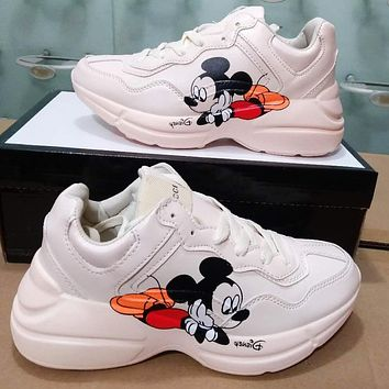 Onewel GUCCI Mickey Mouse Mouth long tongue Daddy shoes Disney joint sports increased black
