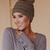 Messy Bun Knitted Beanie Hat - Confetti Charcoal
