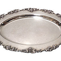 19th-C. English Silver Tray w/ Grapes