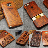 Wood Fundas Case for Samsung Galaxy S5 S6 S7 Edge Plus Note 3 4 5 Bamboo Carving Back Cover Mobile Phone Cases Coque Celular