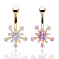 Belly Button Ring - Crystal Zirconia Star