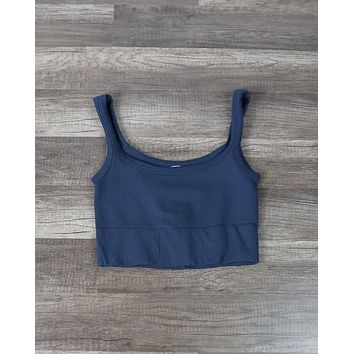 Chevron Ribbed Crop Top in More Colors