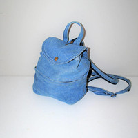 pale denim mini backack 90s grunge small faded denim napsack