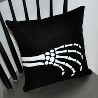 Skeleton Hand Pillow by YellowBugBoutique on Etsy