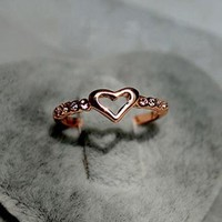 Hollow Heart and CZ Ring by forevervintage on Zibbet