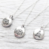 Tiny Silver Charm Necklace, Stamped Tiny Charm Circle Pendant, Om Charm, Lotus Flower, Or Buddah Charms, You Choose One Charm, Gift, Yoga
