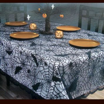 Halloween Spiderweb Tablecloth Black Lace Bat