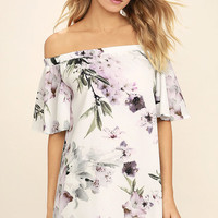 Dream of You Ivory Floral Print Off-the-Shoulder Shift Dress
