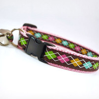 "Cat Collar - ""Argyle Prepster"" - Argyle on Pink"