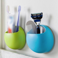 Cute Toothbrush Holder Suction Hooks Cups Organizer Bathroom Accessories Tooth Brush Holder Cup Wall Mount Set Bathroom Sucker