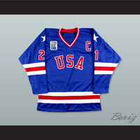1980 Miracle On Ice Mike Eruzione 21 USA Blue Hockey Jersey with Patch