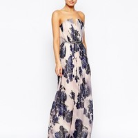 Little Mistress Belted Maxi Dress With Large Floral Print