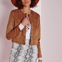 Missguided - Collarless Suede Jacket Tan