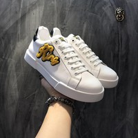 Dolce & Gabbana D & G Portofino Sneakers In Nappa Calfskin With Patches Cs15875268i707 - Best Online Sale