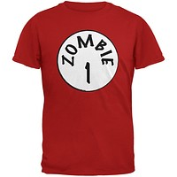 Halloween Zombie 1 One Costume Red Adult T-Shirt