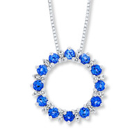 Circle Necklace Lab-Created Sapphire Sterling Silver