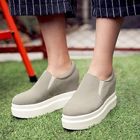 Round Toe Height Increasing Wedges Platform Shoes 1633