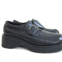 vintage 90s chunky shoes // black leather Buckle Shoes // women's shoes size 10