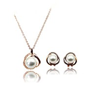 Noble Round pearl Earrings necklace set