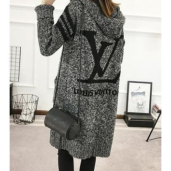 LV Louis Vuitton Hooded Sweater Knit Cardigan Jacket Coat One size (fit,S,M,L)