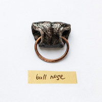 Brooch Bull Nose, animal unisex funny jewelry for bull lovers, animal nose brooch, black and copper, country western bull jewelry