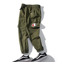 Champion Popular Women Men Embroidery Long Pants Trousers Sweatpants Green