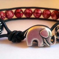 Houndstooth and crimson beaded leather wrap bracelet with lucky elephant button
