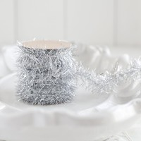 Tinsel Garland - Bright Silver Vintage Style Christmas Trim, 12 Foot Spool