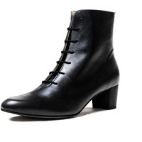 Vegan Shoes & Bags: Silvia Lace-Up Boot by BHAVA in Black
