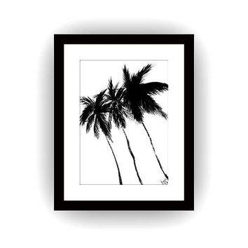 Cococnut trees silhouette, Printable  Girl room Wall decor, decals, palm tree painting, tropical, bohemian, travel beach art, restaurant