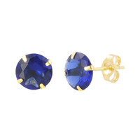 14k Yellow Gold Blue Sapphire Cubic Zirconia Stud Earrings Round Birthstone CZ