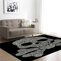 Skull Crossbones Memory Foam Larger Carpet Area Rug