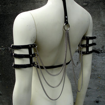 Leather and Chain Wings by MisfitLeather on Etsy