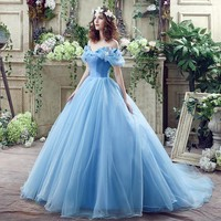 Blue Butterfly Cosplay Cinderella Dress Ball Gowns Tulle Dresses Ruffled Dress