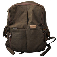 Canvas Styled Casual Designed DSLR Camera Bag Travel Sized Backpack