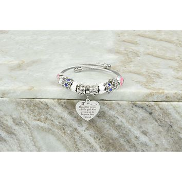 Women's Open Cable Inspirational Heart Charmed Bracelet By Pink Box