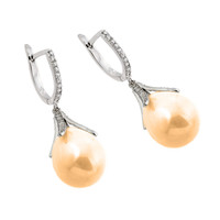 Sterling Silver Champagne Pearl Lever Back Earrings