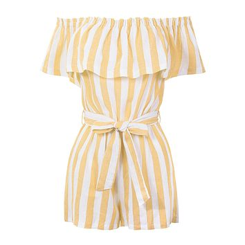 Summer Linen Striped Off Shoulder Flounce Ruffle Belted Romper Jumpsuit (CLEARANCE)