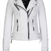 Kay Michaels Pure White Womens Quilted Biker - Boda Skins