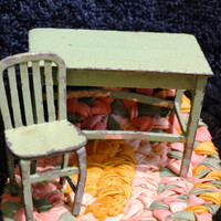 Vintage 1930's Die Cast Iron Tootsie Chair, Lime Green Library Table & Chair, Primitive Doll House Furniture, Office Desk and Chair