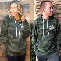 City Roots in Boots Logo Unisex Camo Hoodie