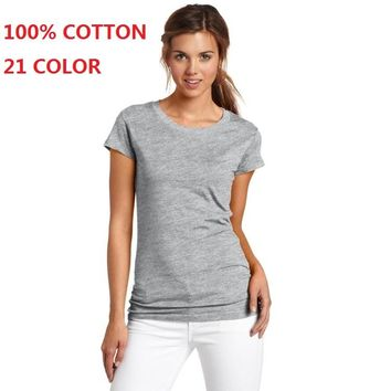 100% Cotton 21 Color Summer Fashion T Shirt Women Basic T-shirts Female Casual Tops Short Sleeve T-shirt Women