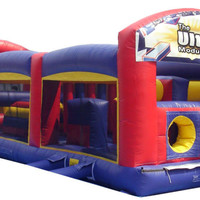 Inflatable moonwalk slide combo Bounce House: 31'L All Enclosed Obstacle Course