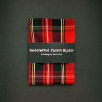 "Red plaid pocket square – rustic mens tartan handkerchief – red and black mans wedding hankie – 10"" x 10"" size – cotton blend fabric"